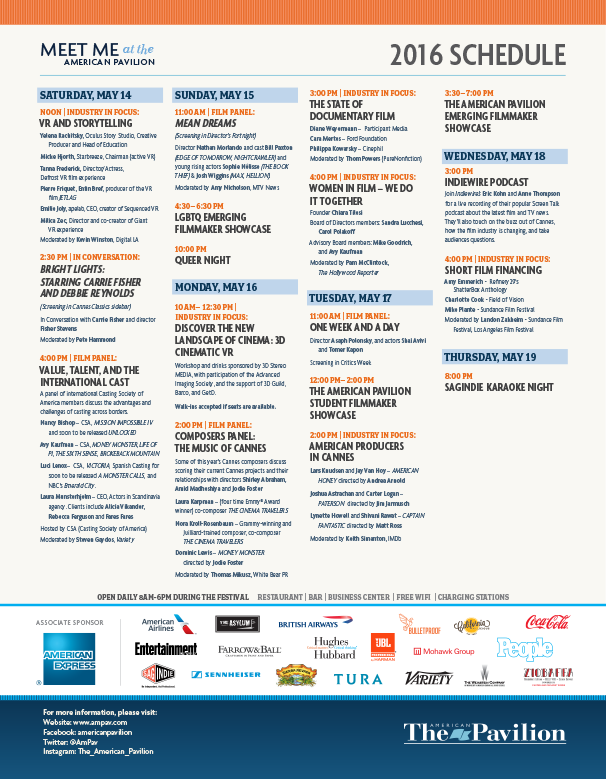 CANNES 2016 Programming Schedule
