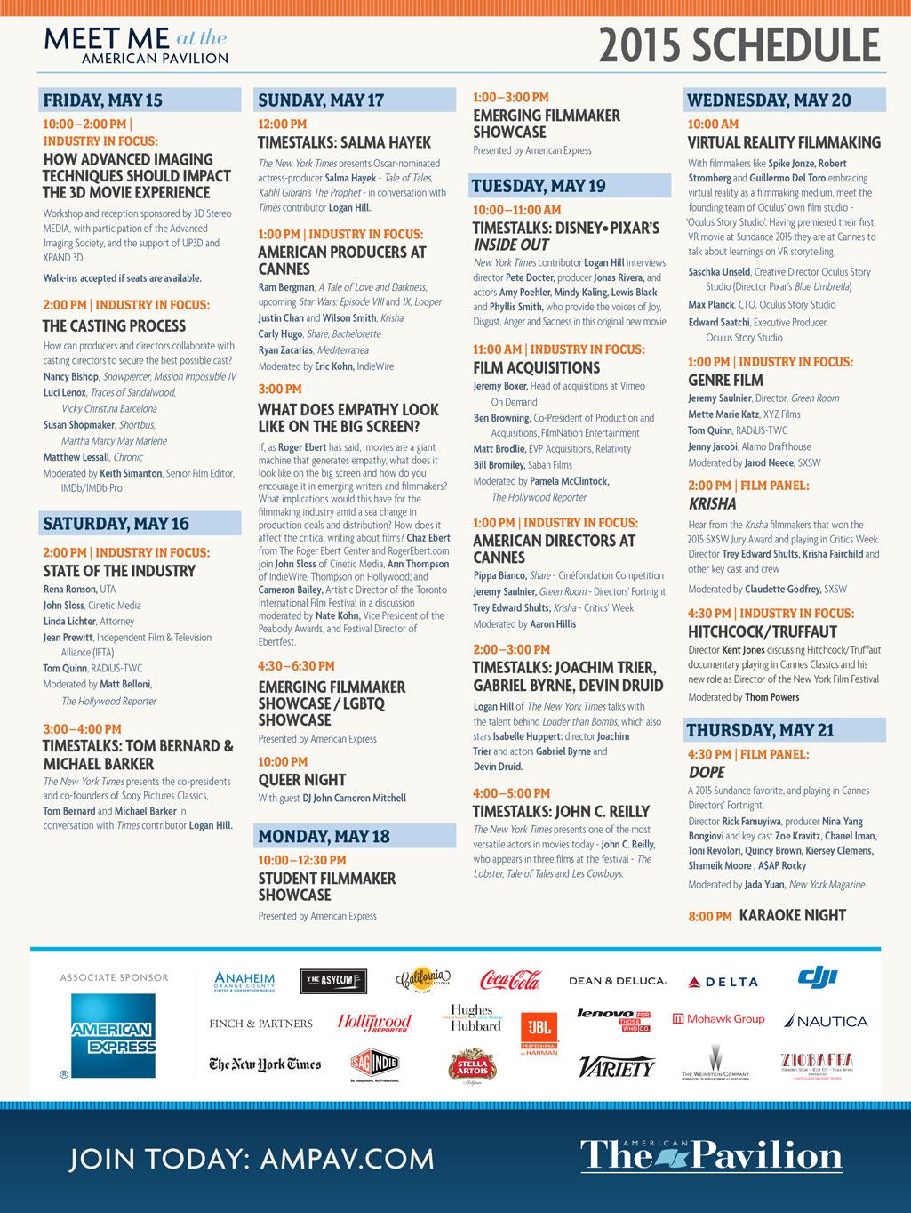 American Pavillion Schedule 2015